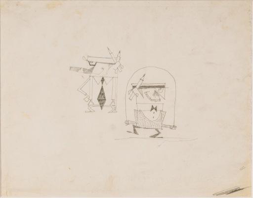 Pino PASCALI - Zeichnung Aquarell - Architetti