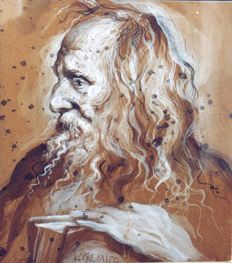Vincenzo GEMITO - Disegno Acquarello - Filosofo