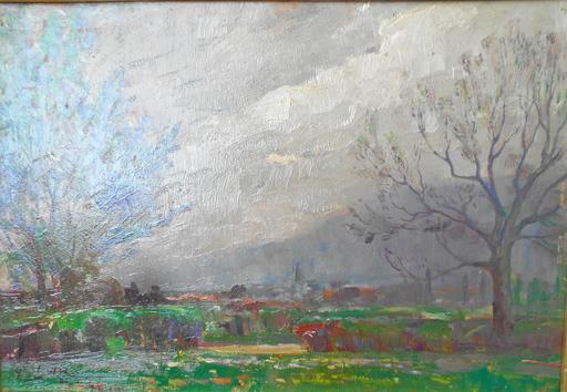 Piet GILLIS - Painting - Ciel d'orage à Veyrier.  Genève, Suisse