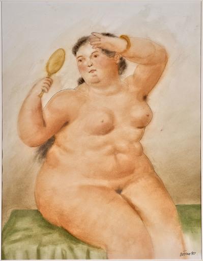 Fernando BOTERO - Drawing-Watercolor - Woman with mirror