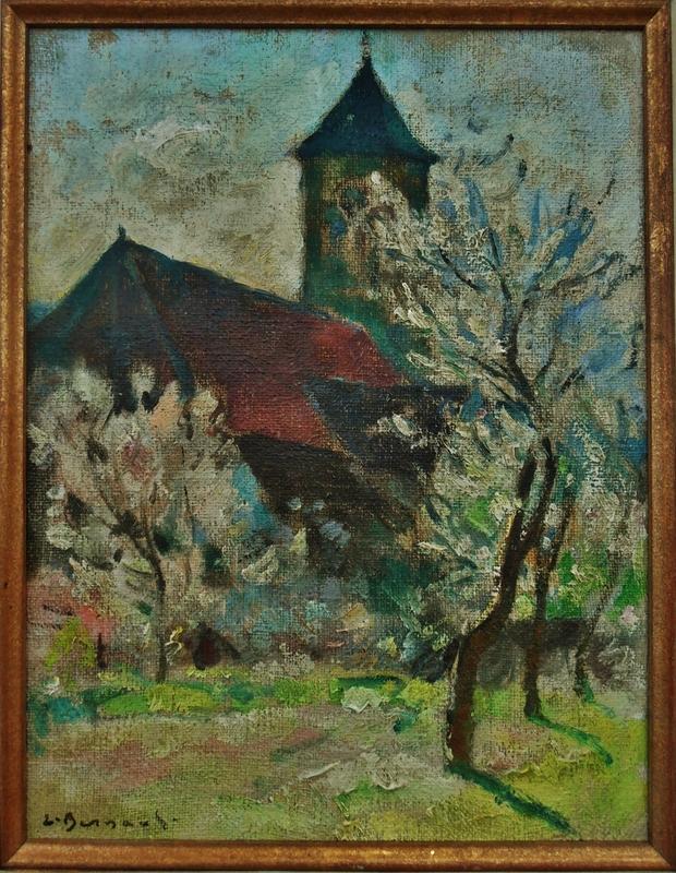 Edouard BERNAUT - Peinture - Eglise au printemps