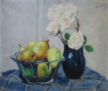 Charles KVAPIL - Painting - Roses and pears, 1932