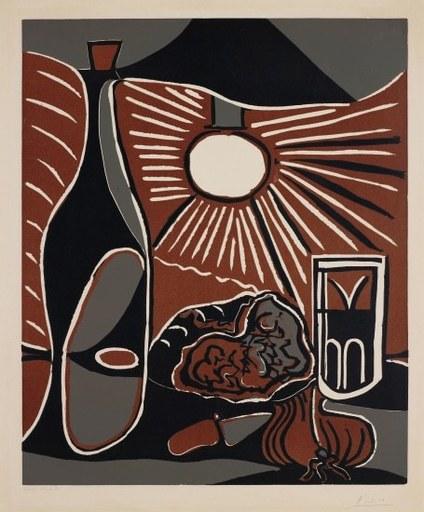 巴勃罗•毕加索 - 版画 - Nature morte à la bouteille