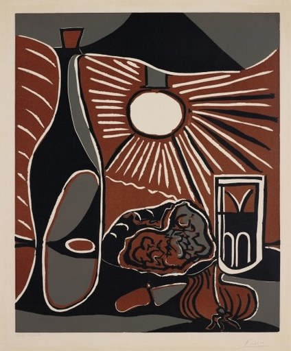 Pablo PICASSO - Druckgrafik-Multiple - Nature morte à la bouteille