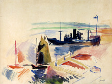 Jean DUFY - Disegno Acquarello - Port du Havre