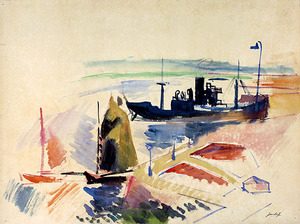 Jean DUFY - Drawing-Watercolor - Port du Havre