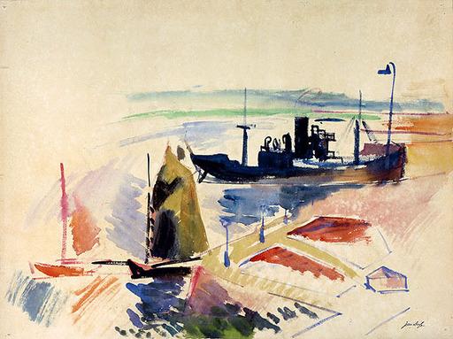 Jean DUFY - Dibujo Acuarela - Port du Havre