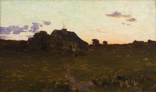 Arthur Wesley DOW - Peinture - House in a Landscape