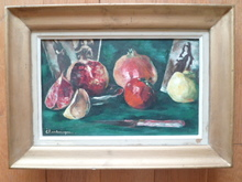 Paul CHARLEMAGNE - Painting - Nature morte aux fruits et au couteau