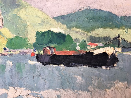 René SAUTIN - Pintura - La Seine aux Andelys