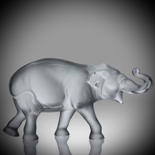 Marc LALIQUE - Miniatur - 'Sumatra Elephant' frosted crystal glass sculpture by Marc L