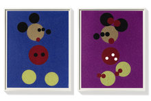 Damien HIRST - Estampe-Multiple - Minnie (Pink Glitter) & Mickey (Blue Glitter)