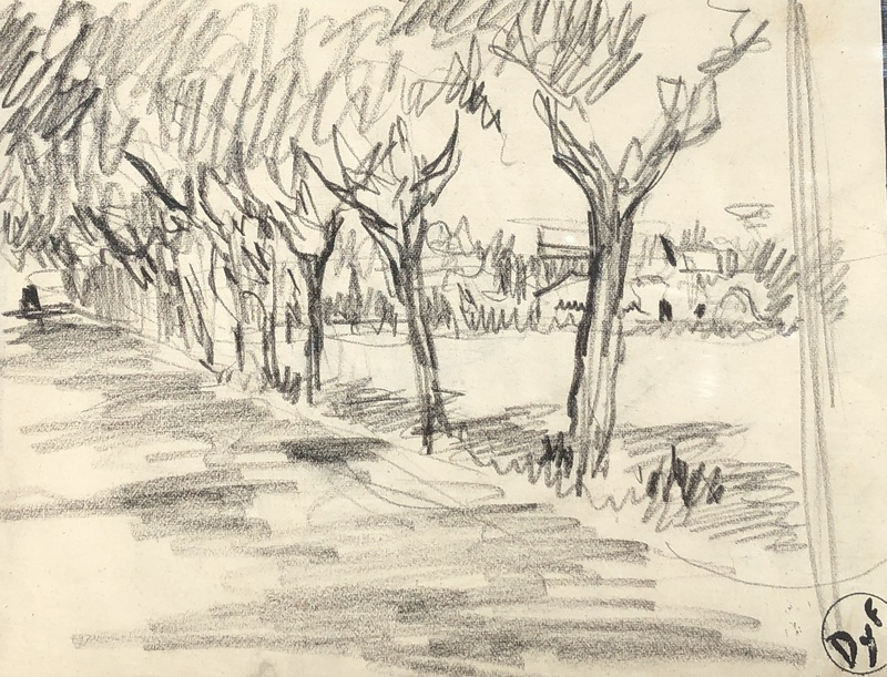 Marcel DYF - 水彩作品 - Allée d'arbres