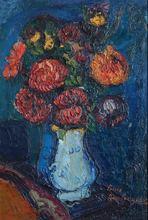 Pierre AMBROGIANI - Peinture - Fleurs au vase Bleu