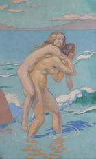 Maurice DENIS - Painting - Jeux de Nausicaa : femme portant sa compagne