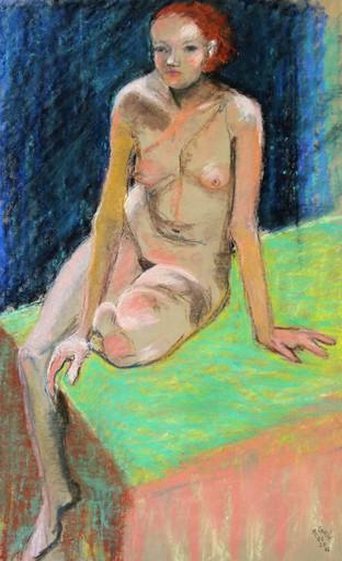 R.CAVALIÉ - Drawing-Watercolor - Le lit vert
