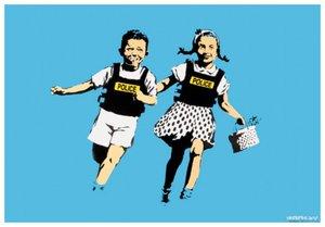 BANKSY - Estampe-Multiple - Jack and Jill (police kids)