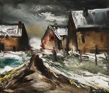 Maurice DE VLAMINCK - Pintura - Hameau sous la neige