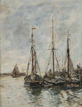 Eugène BOUDIN - Peinture - Trouville. Les jetées. Marée haute