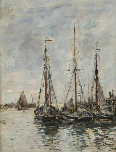 Eugène BOUDIN - Pittura - Trouville. Les jetées. Marée haute