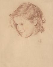 Otto GREINER - Drawing-Watercolor - Mädchenkopf
