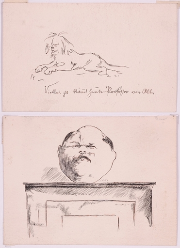 """Ernst JUCH - Zeichnung Aquarell - """"Two Illustrations"""", Ink Drawing"""