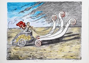 乔治•德•基里科 - 版画 - La biga invincibile,1969 Seconda versione Manto Rosso