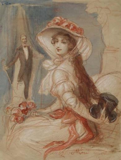 """Adolf PIRSCH - Dessin-Aquarelle - """"Coquet"""" by Adolf Pirsch, ca 1900"""