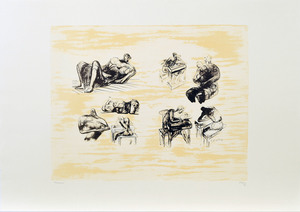 Henry MOORE - Druckgrafik-Multiple - Eight sculptural ideas, girl writing