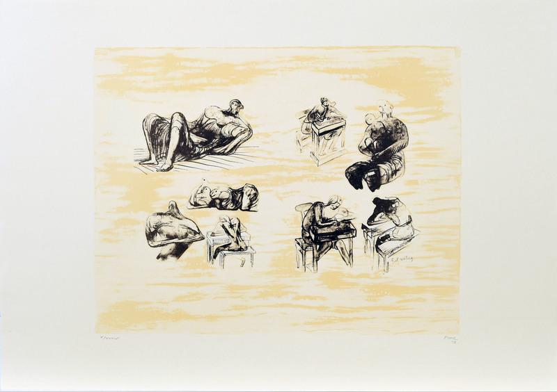 亨利•摩尔 - 版画 - Eight sculptural ideas, girl writing