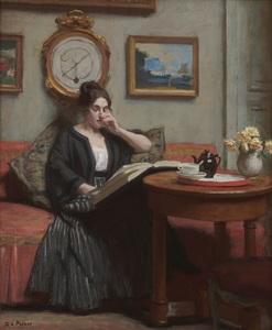 René Xavier François PRINET - Painting - Jeanne Prinet lisant