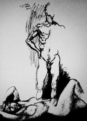 Renato GUTTUSO - Dibujo Acuarela - La donna distesa