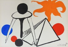 Alexander CALDER - Dibujo Acuarela - On the Moon