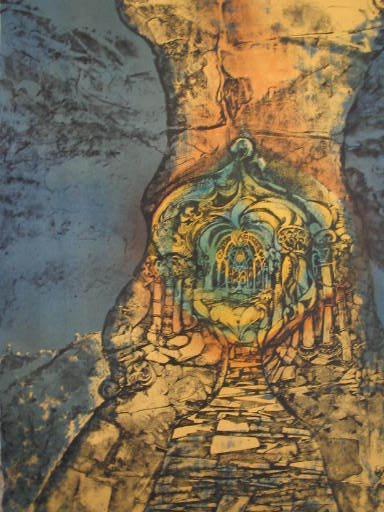 "Luc SIMON - Grabado - ""Femme monument"" 1971"