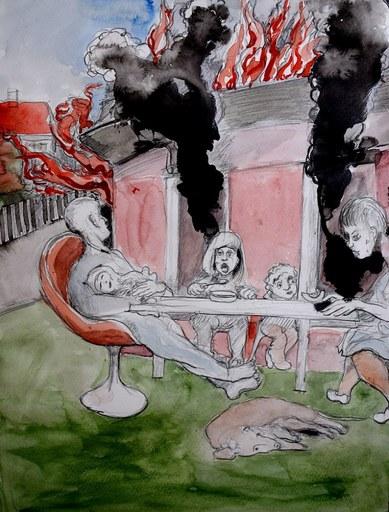 H. SCHLAGEN - Drawing-Watercolor - Das haus brennt, 2020