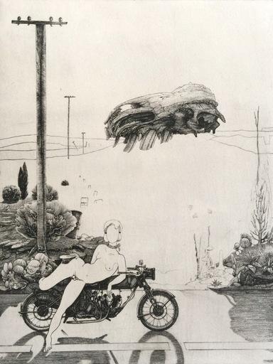 Philippe MOHLITZ - Grabado - Jeune hermaphrodite disposant d'une motocyclette