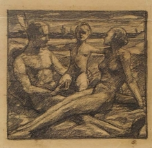 "Otto HETTNER - Dibujo Acuarela - ""Young Family"" by Otto Hettner, 1930's"