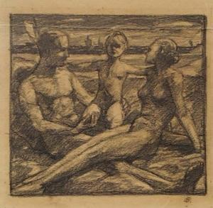 "Otto HETTNER - Dibujo Acuarela - ""Young Family"" by Otto Hettner, 1930's"