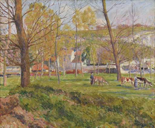 Georges MANZANA-PISSARRO - Painting - Un Paysage Pastoral