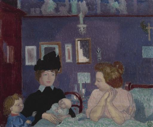 Maurice DENIS - Painting - Visite dans une chambre violette
