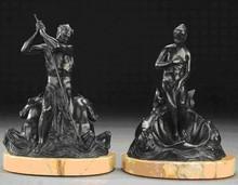 Gleb W. DERUJINSKY - Escultura - A Pair of Bronze Figural Bookends of Poseidon and Aphrodite