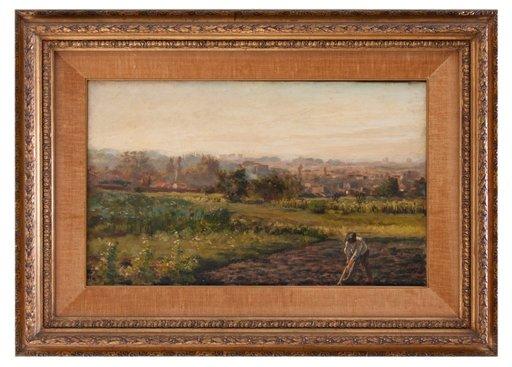 Clemente PUGLIESE-LEVI - Painting - Contadini al lavoro nel vercellese