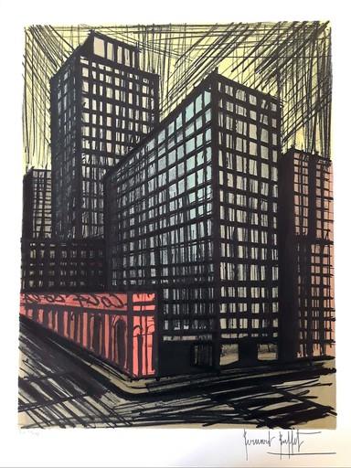 Bernard BUFFET - Radierung Multiple - Buildings New-York