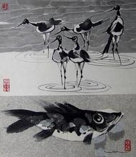 WONG Wa (1953) - Echasses & poissons / Stilts & fish