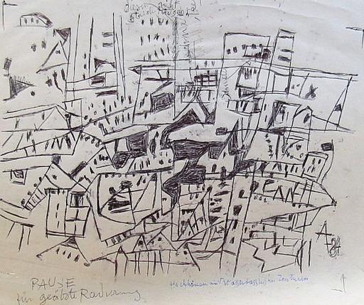 Arnold FIEDLER - Disegno Acquarello - Hochhäuser mit Wasserstraßen