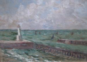 Maximilien LUCE - Pintura - LE TREPORT LA SORTIE DU PORT