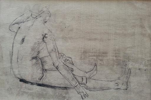 Pietro ANNIGONI - Disegno Acquarello - manichino metafisico (1941)