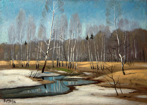 Valeriy NESTEROV - Painting - March. Pakhra river
