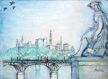 Alice HALICKA - Pintura - La Pasarelle des arts et Notre Dame de Paris