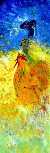 Marie-France BUSSET - Gemälde - LA FEMME ET SON COQ